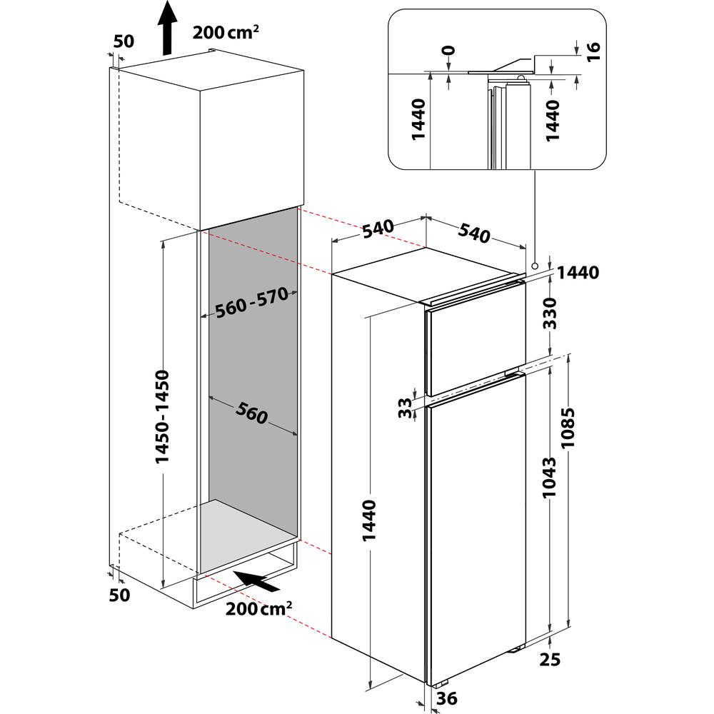 Indesit Combinazione Frigorifero/Congelatore Da incasso IN D 2040 AA Bianco 2 porte Technical drawing