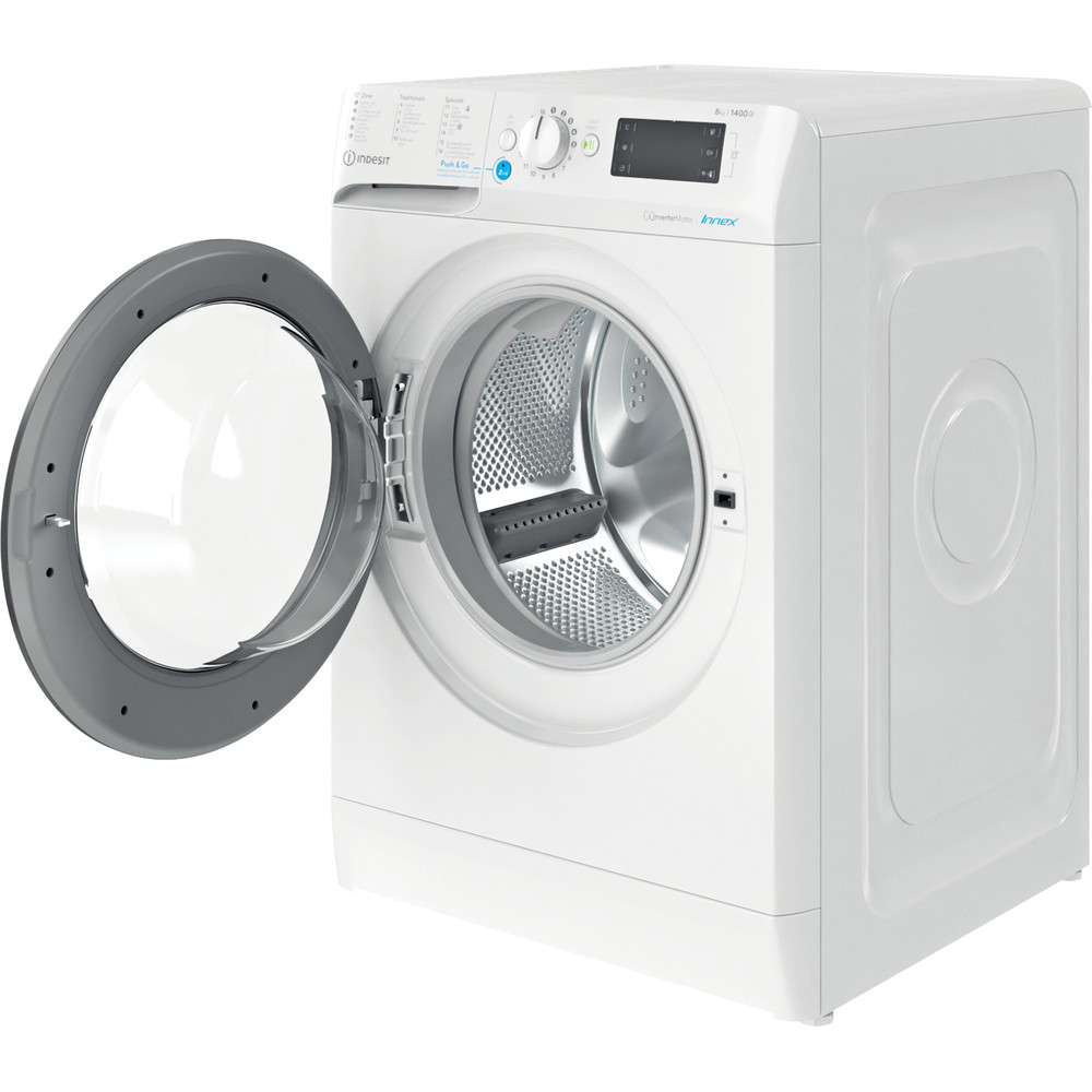 Indesit Lave-linge Pose-libre BWEBE 81484X WK N Blanc Frontal C Perspective open