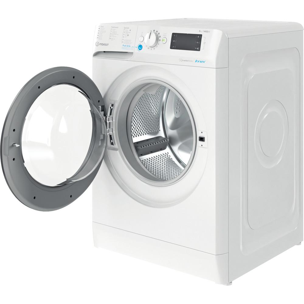 Indesit Wasmachine Vrijstaand BWEBE 81484X WK N Wit Voorlader C Perspective open