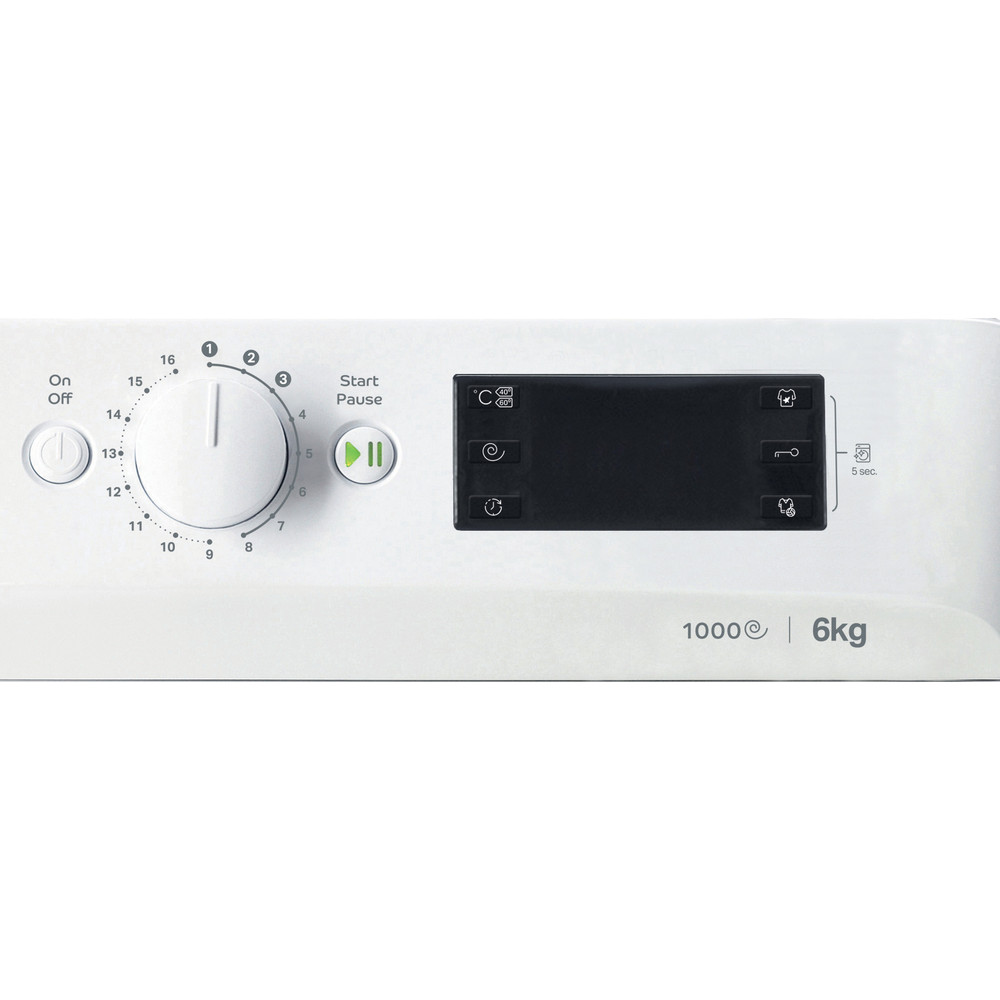 Indesit Пральна машина Соло OMTWSE 61051 WK EU Білий Front loader A+++ Control panel