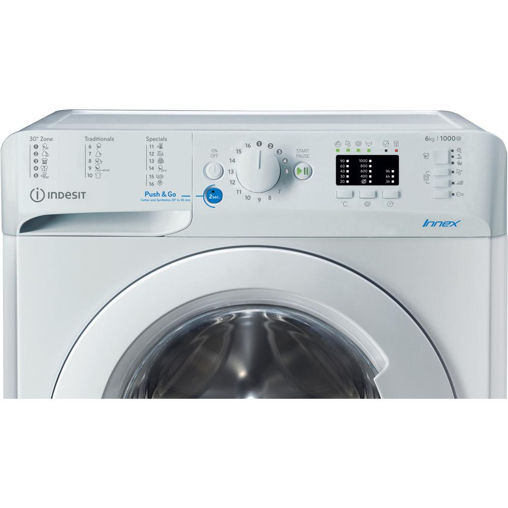"""""""Indesit"""" Skalbimo mašina Laisvai pastatoma BWSA 61051 W EU N Balta Pakraunama iš priekio F Control panel"""