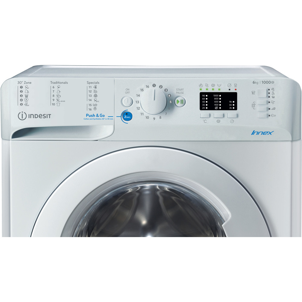 """""""Indesit"""" Skalbimo mašina Laisvai pastatoma BWSA 61051 W EU N Balta Pakraunama iš priekio A+++ Control panel"""