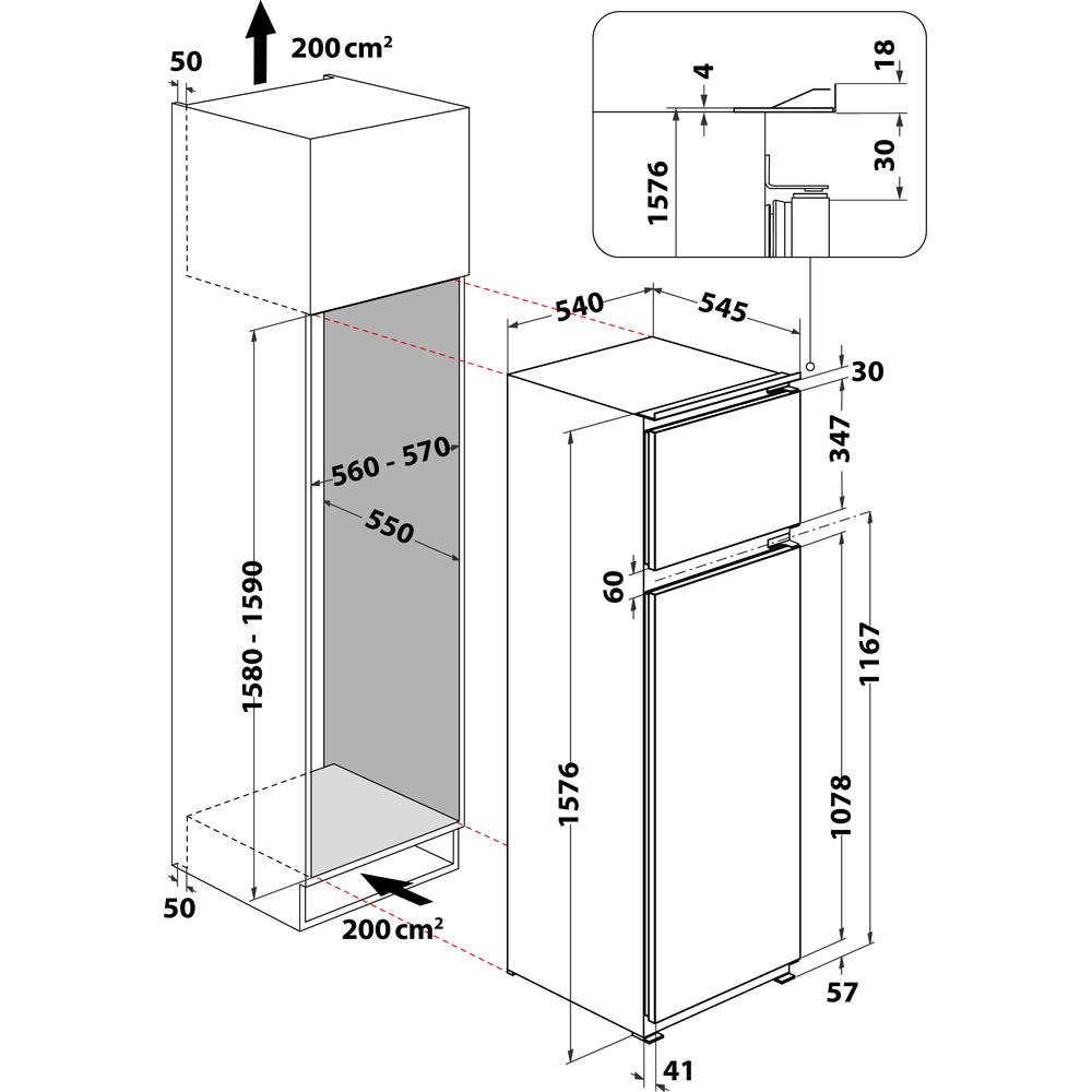 Indesit Combinazione Frigorifero/Congelatore Da incasso T 16 A1 D/I 1 Acciaio 2 porte Technical drawing