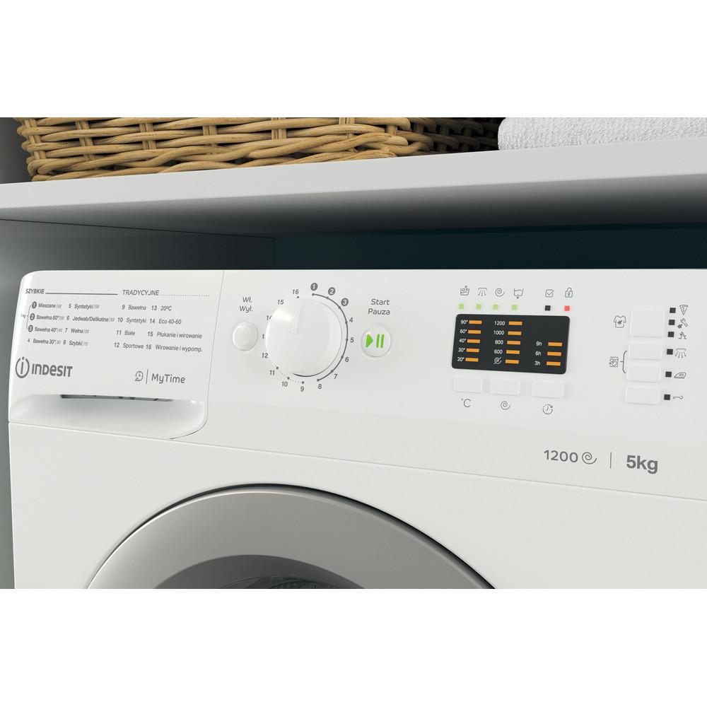 Indesit Pralka Wolnostojące MTWSA 51252 WS PL Biel Ładowany od frontu F Lifestyle control panel