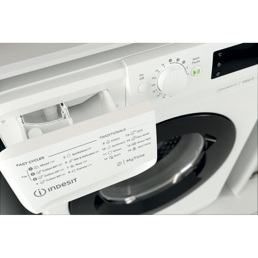 """""""Indesit"""" Skalbimo mašina Laisvai pastatoma MTWE 81283 WK EE Balta Pakraunama iš priekio A+++ Drawer"""