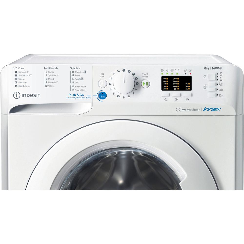 Indesit Washing machine Free-standing BWA 81683X W UK N White Front loader A+++ Control panel