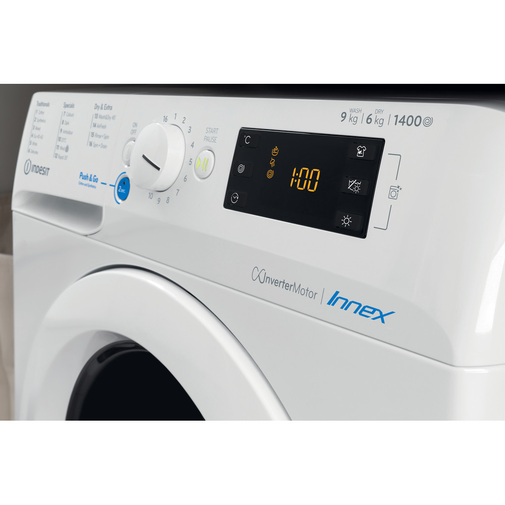Indesit Washer dryer Free-standing BDE 961483X W UK N White Front loader Lifestyle control panel
