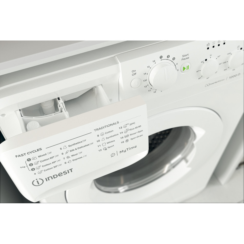 Indesit Washing machine Free-standing MTWC 91283 W UK White Front loader A+++ Drawer