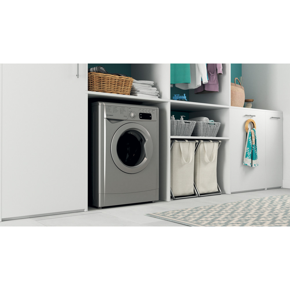 Indesit Washer dryer Free-standing IWDD 75145 S UK N Silver Front loader Lifestyle perspective