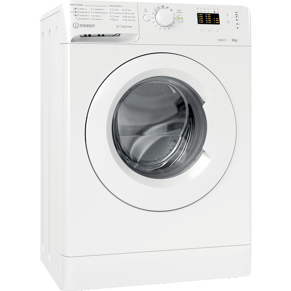 Indesit Lave-linge Pose-libre MTWSA 61252 W EE Blanc Frontal A+++ Perspective