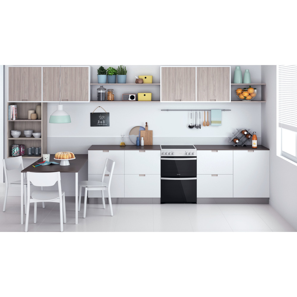 Indesit Double Cooker ID67V9KMW/UK White B Lifestyle frontal