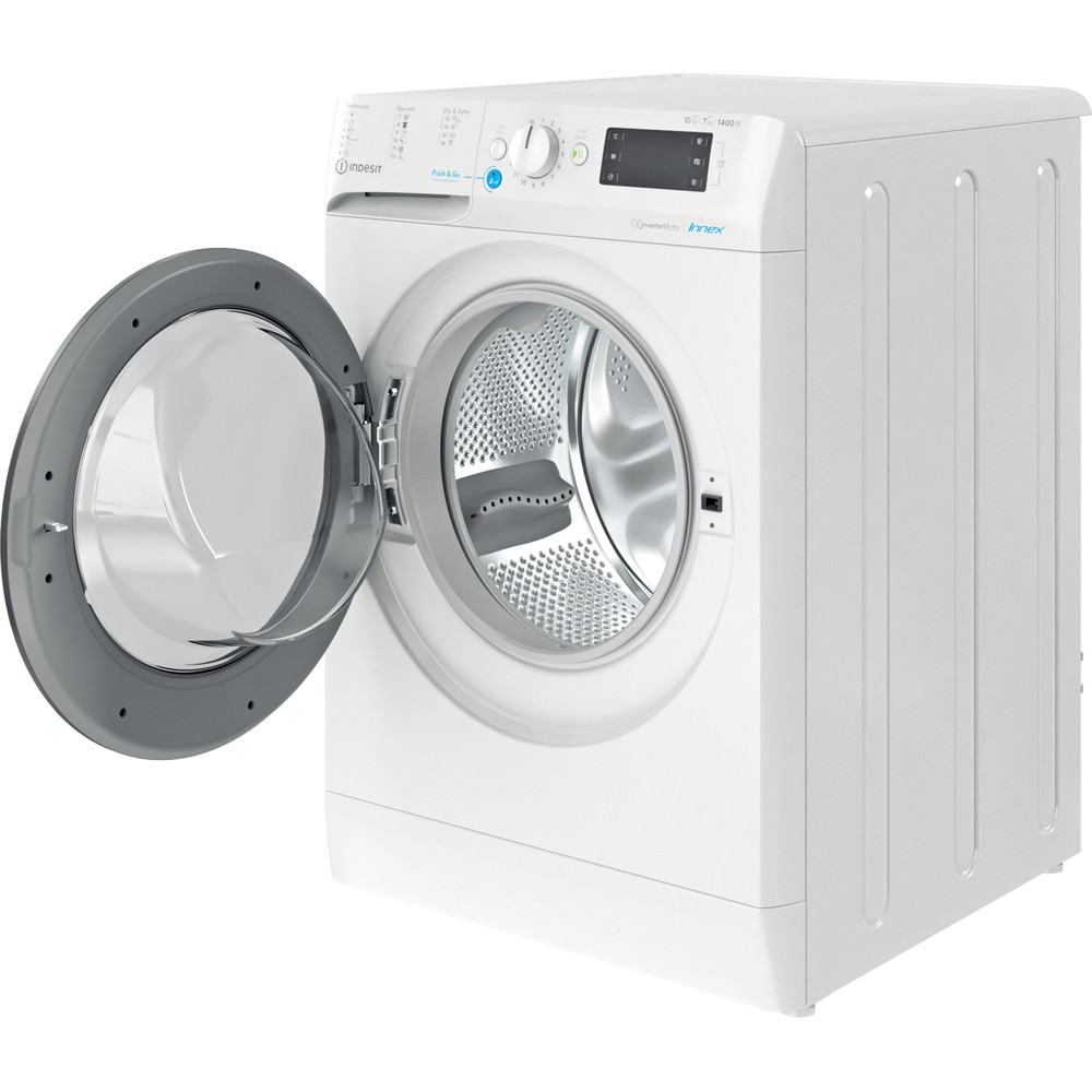 Indesit Kombineret vaskemaskine/tørretumbler Fritstående BDE 1071482X WK EU N Hvid Frontbetjent Perspective open