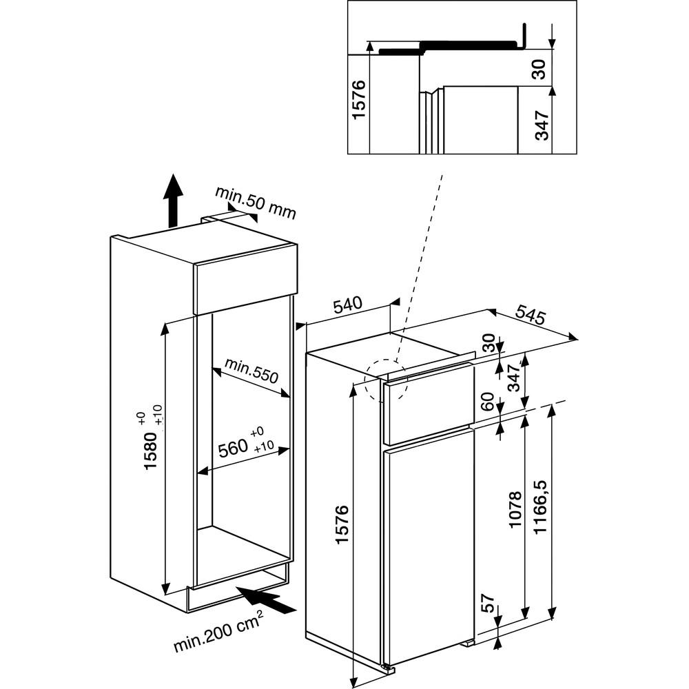 Indesit Combinazione Frigorifero/Congelatore Da incasso T 16 A1 D S/I Acciaio 2 porte Technical drawing