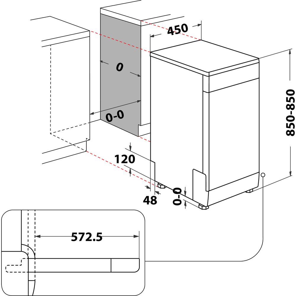 Indesit Mosogatógép Szabadonálló DSFO 3T224 C S Szabadonálló E Technical drawing