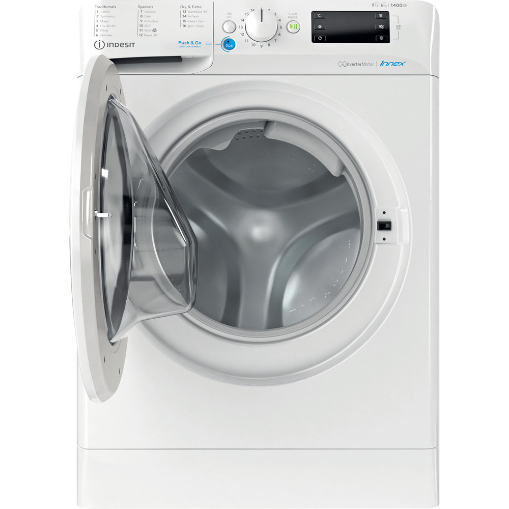 Indesit Washer dryer Free-standing BDE 861483X W UK N White Front loader Frontal open