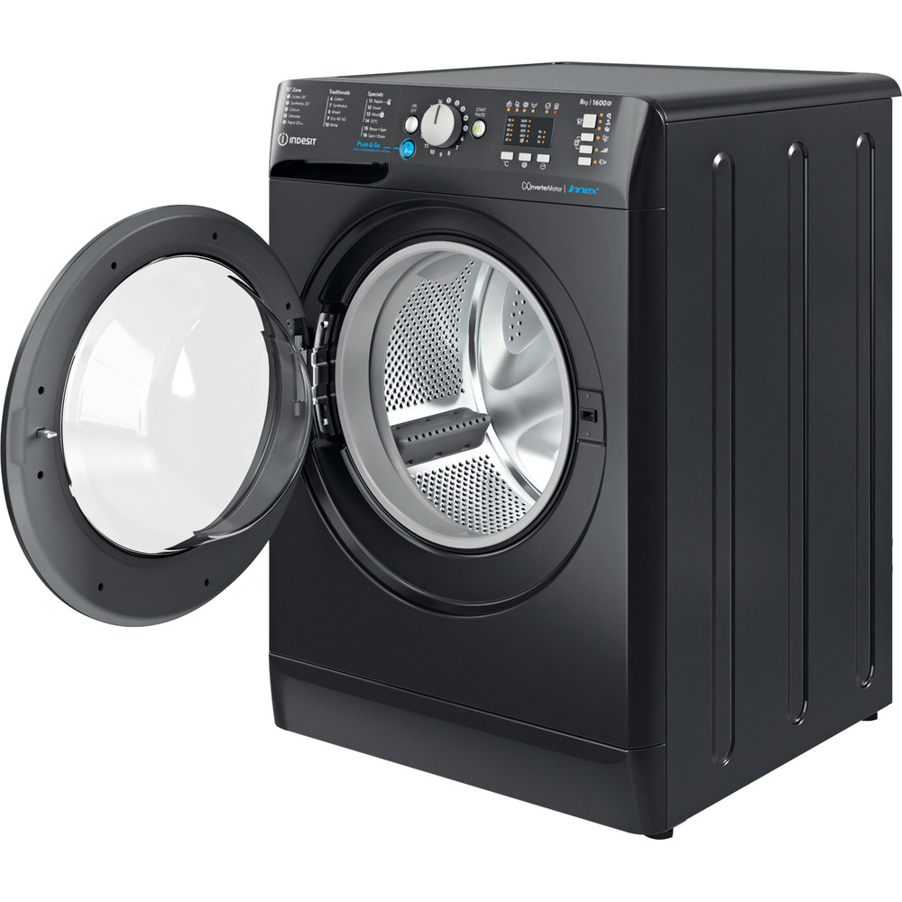 Indesit Washing machine Free-standing BWA 81683X K UK N Black Front loader D Perspective open