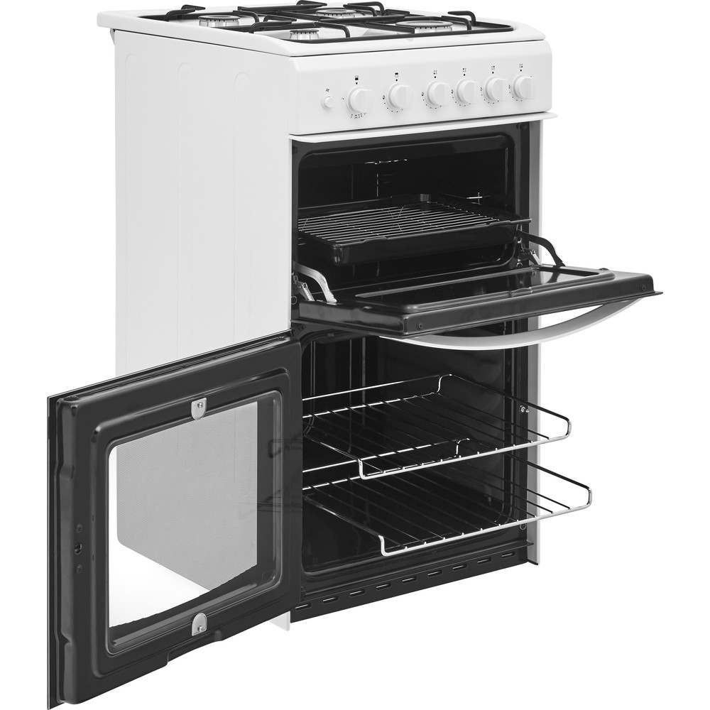Indesit Double Cooker ID5G00KCW/UK White A+ Enamelled Sheetmetal Perspective open