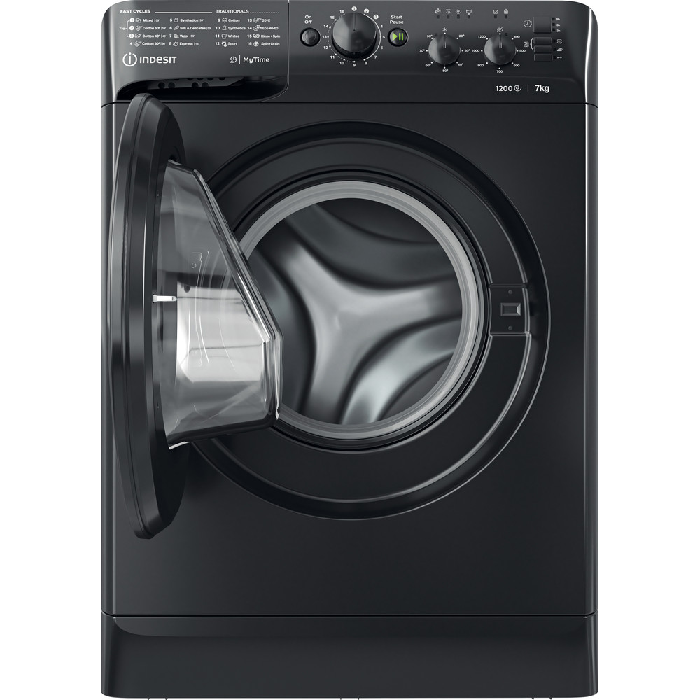 Indesit Washing machine Free-standing MTWC 71252 K UK Black Front loader A++ Frontal open