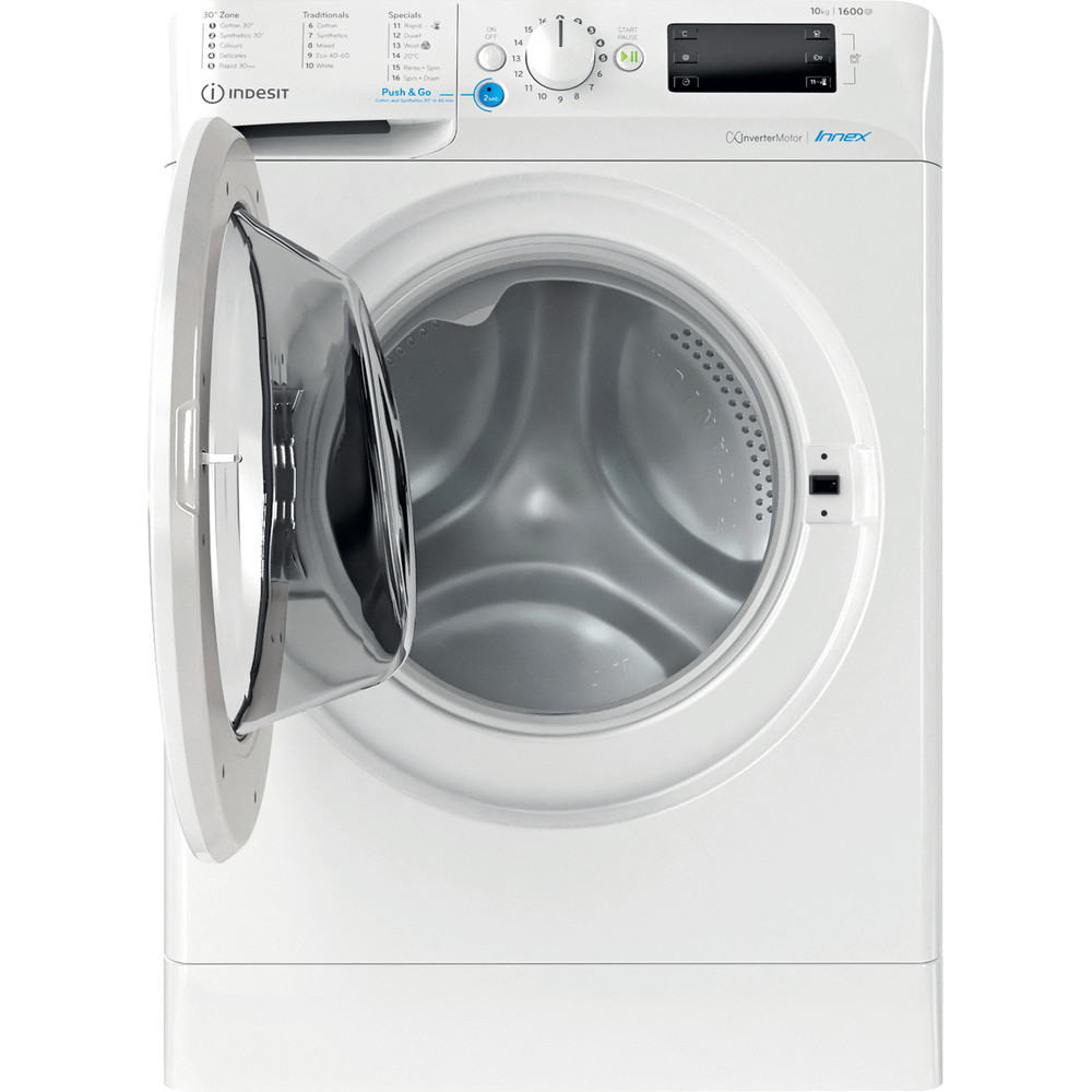 Indesit Washing machine Free-standing BWE 101683X W UK N White Front loader D Frontal open