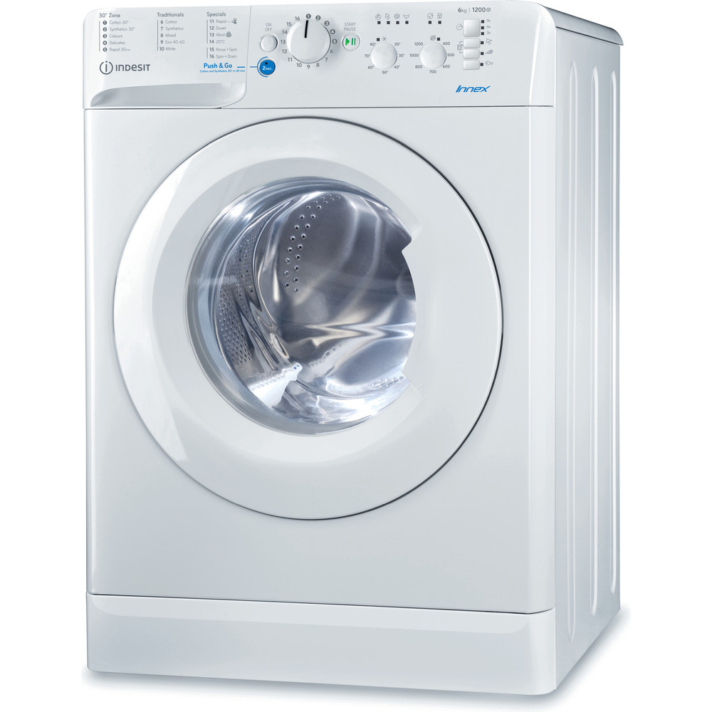 Indesit Washing machine Free-standing BWSC 61251 XW UK N White Front loader A++ Perspective