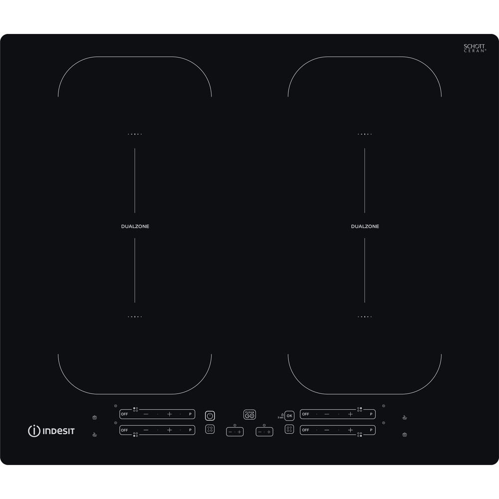 Indesit HOB IB 88B60 NE Black Induction vitroceramic Frontal