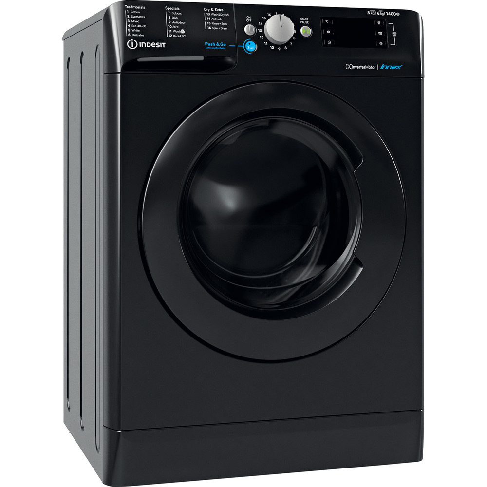 Indesit Washer dryer Free-standing BDE 861483X K UK N Black Front loader Perspective