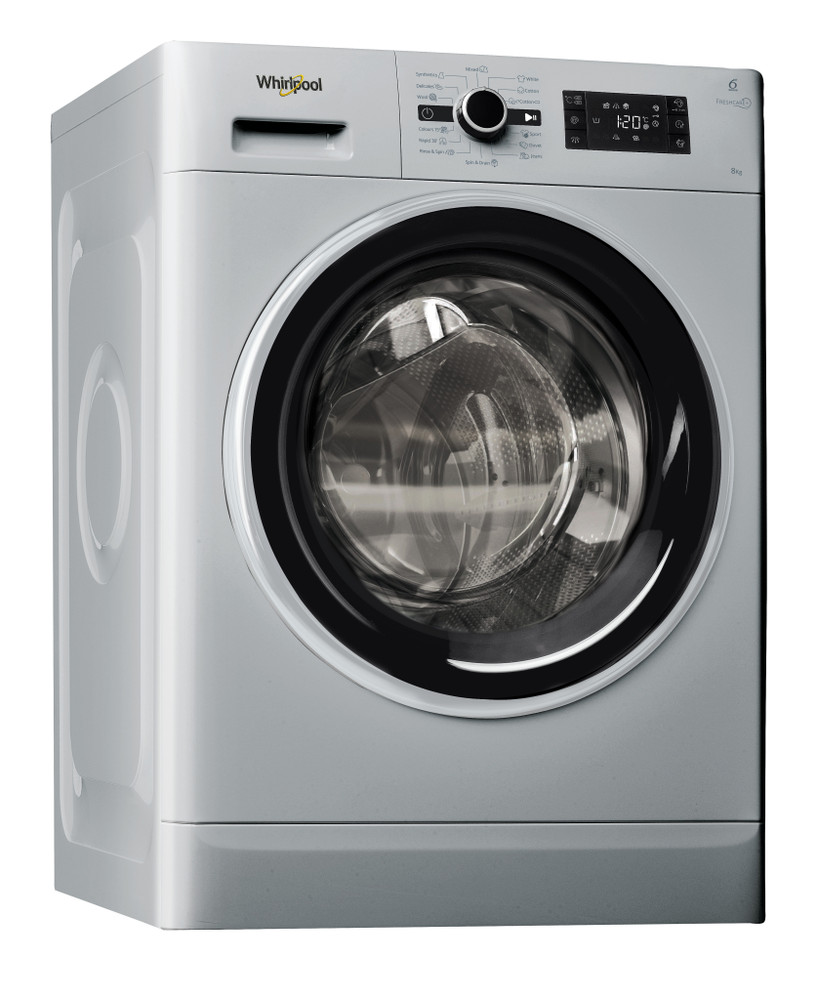 Whirlpool Washing machine Free-standing FWG81284SBS EG Silver Front loader A+++ Perspective