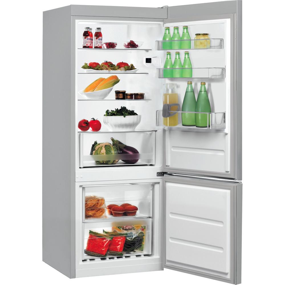 Indesit Kombinētais ledusskapis/saldētava Brīvi stāvošs LI6 S1E S Sudraba 2 doors Perspective open