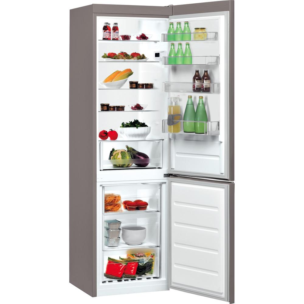 Indesit Kombinovaná chladnička s mrazničkou Volně stojící LI9 S2E X Nerez 2 doors Perspective open