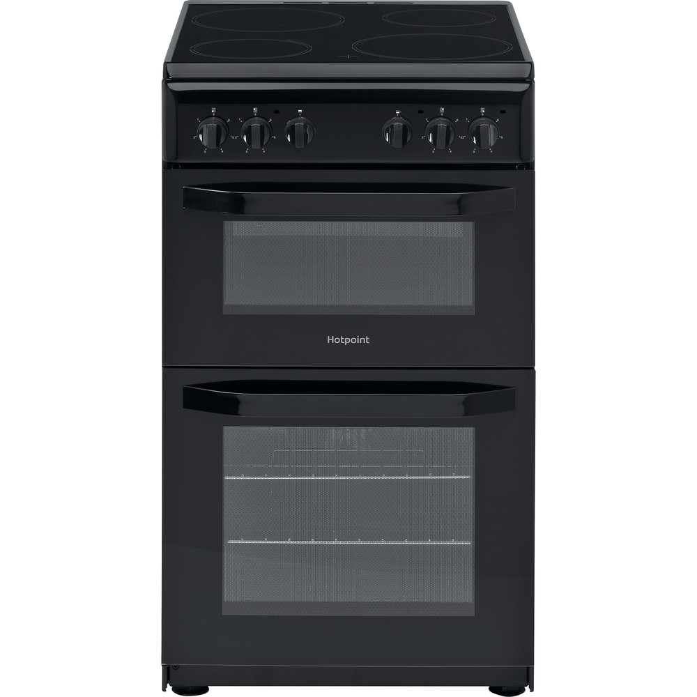 Hotpoint Double Cooker HD5V92KCB/UK Black A Vitroceramic Frontal