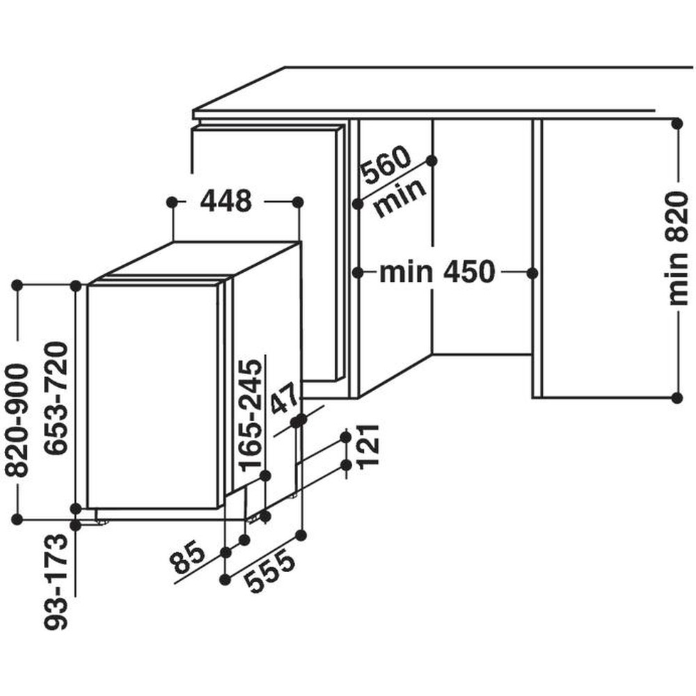 Indesit Посудомоечная машина Встроенная DISR 57H96 Z Full-integrated A Technical drawing