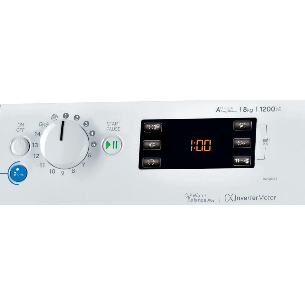 Indsit Maşină de spălat rufe Independent BWE 81284X W EU Alb Încărcare frontală A +++ Control panel