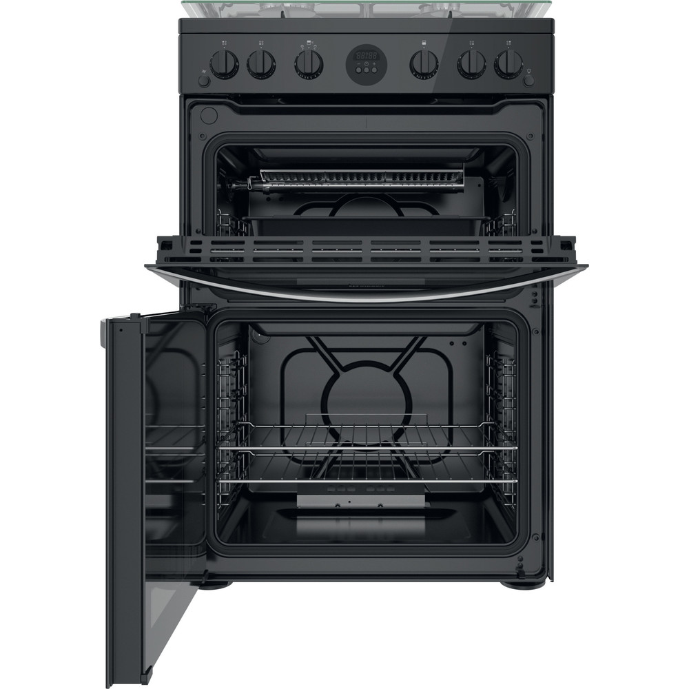 Indesit Double Cooker ID67G0MCB/UK Black A+ Frontal open