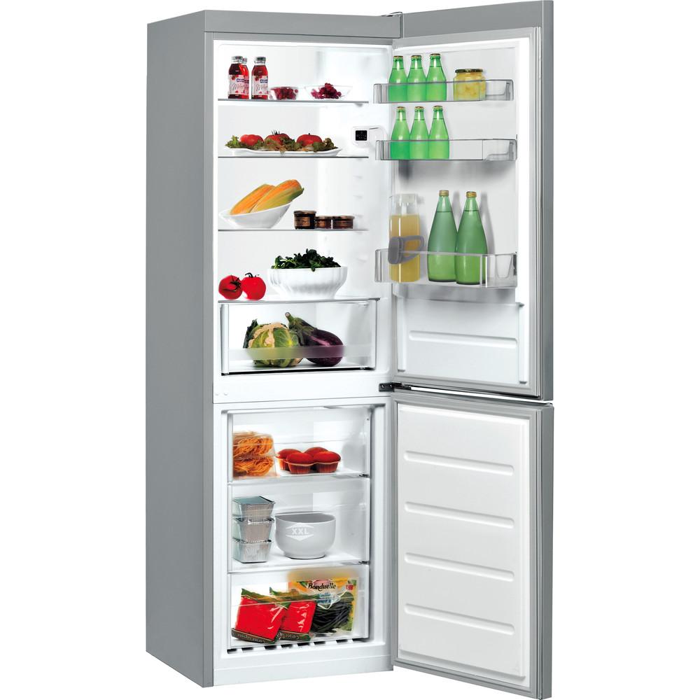 Indesit Kombinovaná chladnička s mrazničkou Voľne stojace LI7 SN1E X Nerezová 2 doors Perspective open