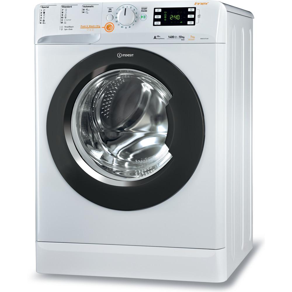 Indesit Kuivaava pesukone Vapaasti sijoitettava XWDE 1071481XWKKK EU Valkoinen Edestä täytettävä Perspective