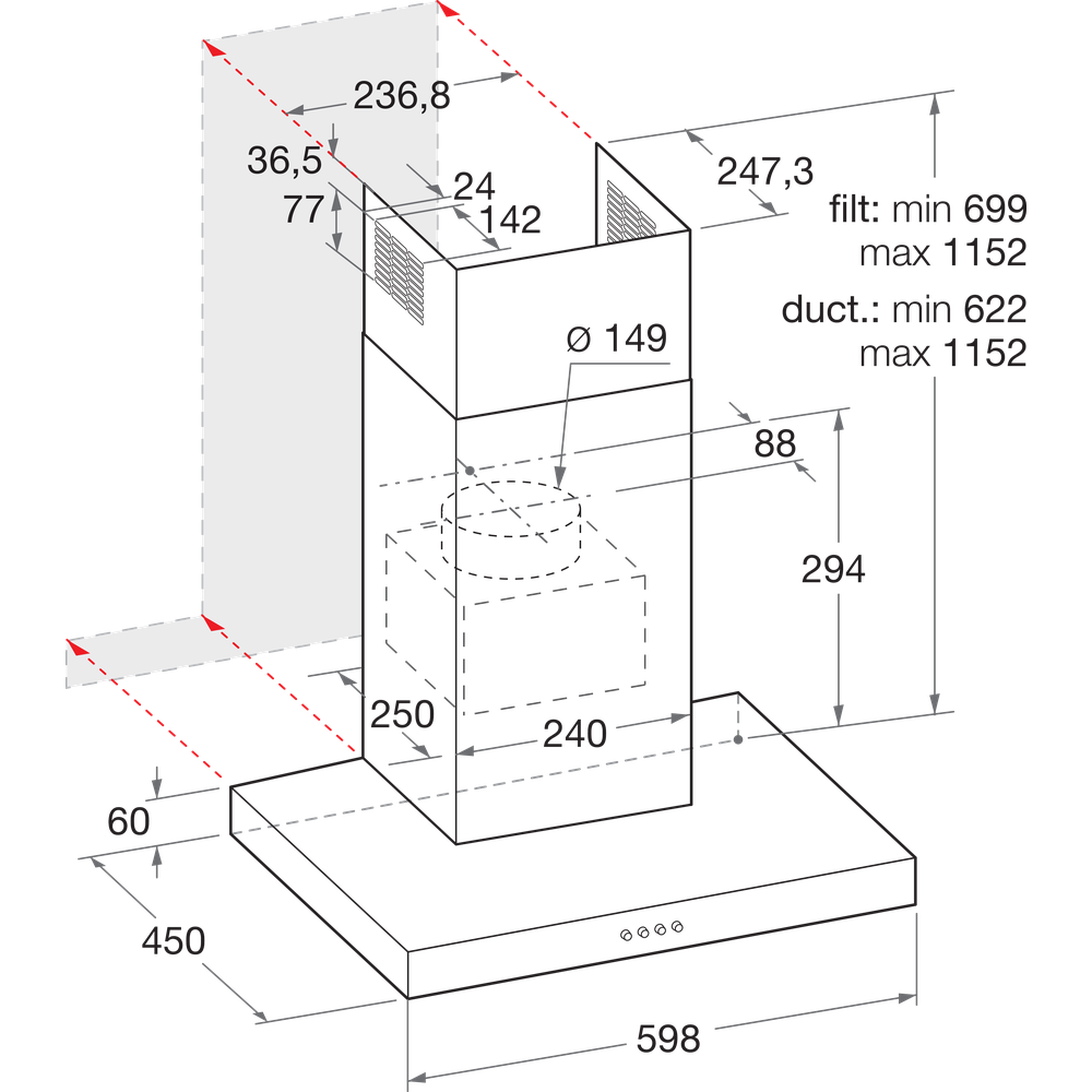 Indesit HOOD Built-in IHBS 6.5 LM X Inox Wall-mounted Mechanical Technical drawing