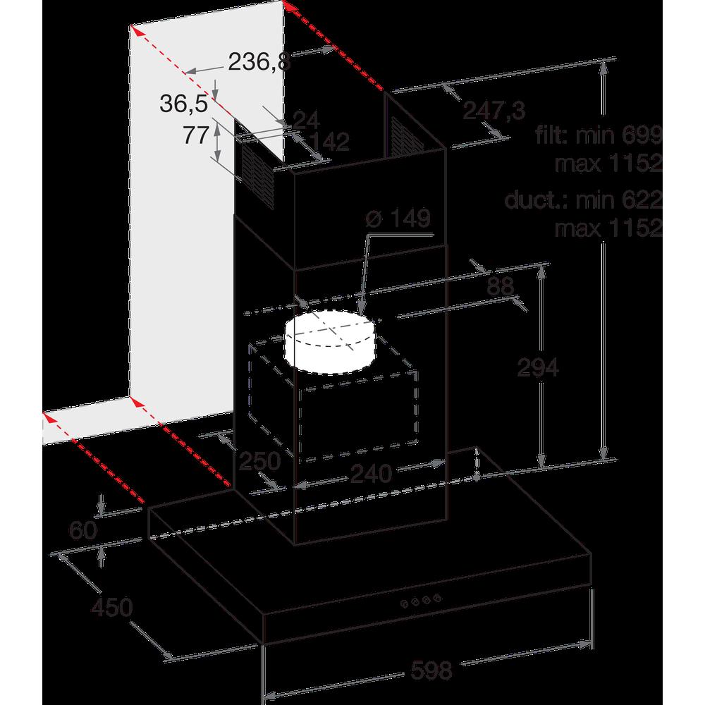 Indesit Emhætte Indbygget IHBS 6.5 LM X Rustfrit stål Vægmonteret Mekanisk Technical drawing