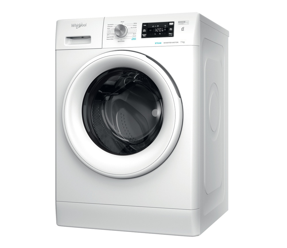 Whirlpool Washing machine Free-standing FFB 7438 WV UK White Front loader D Perspective
