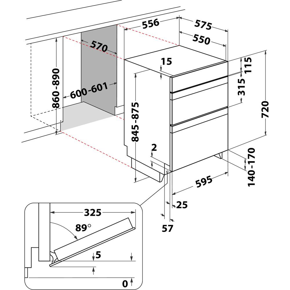 Indesit Double oven DDU 5340 C IX Inox B Technical drawing