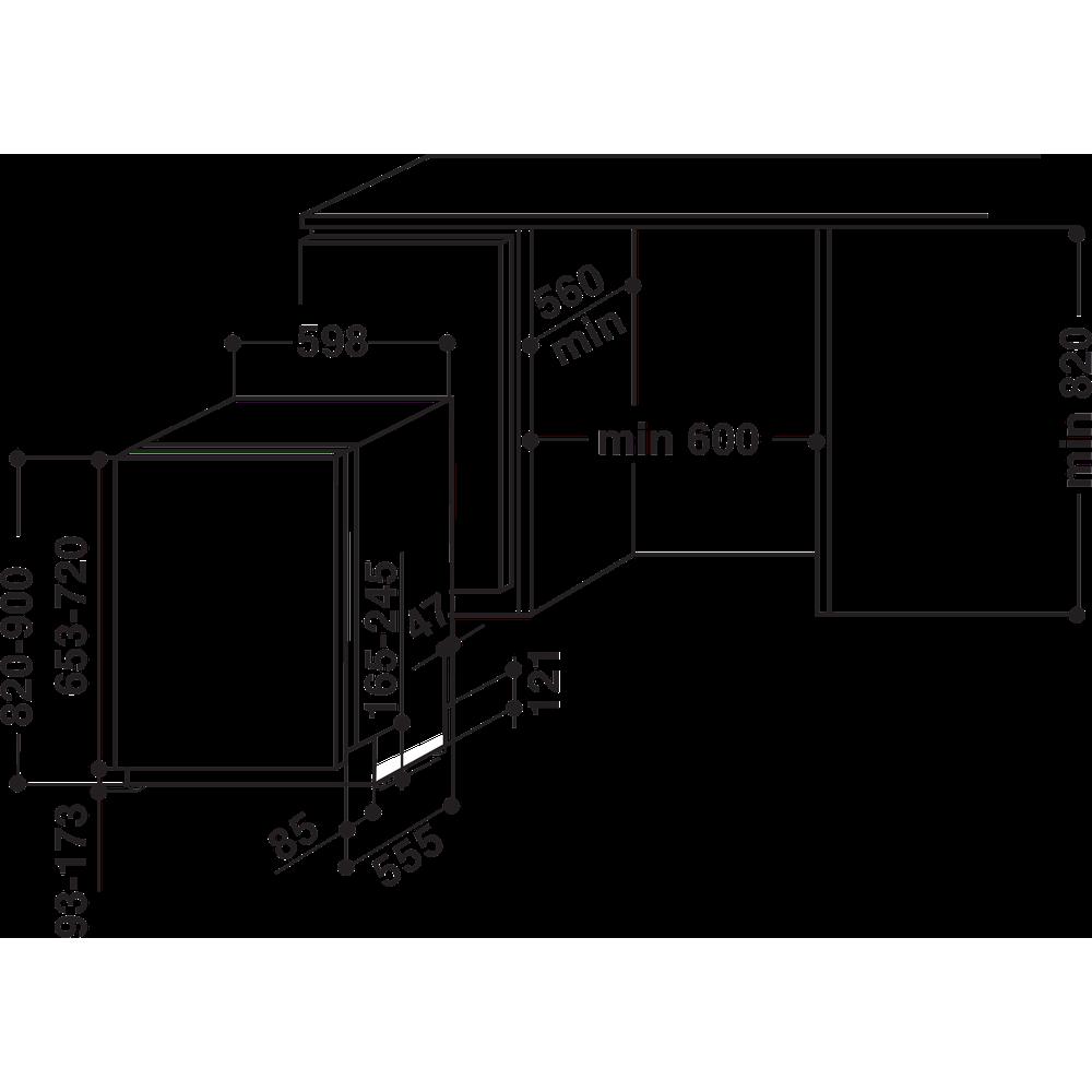 Indesit Mašina za pranje posuđa ugradbeni DIF 14B1 EU A scomparsa totale A Technical drawing