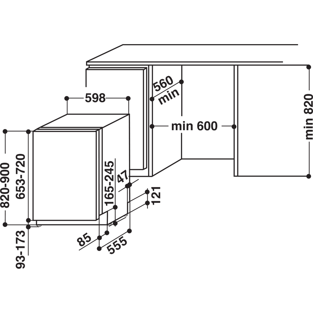 Indesit Dishwasher Built-in DIFM 16B1 UK Full-integrated A Technical drawing
