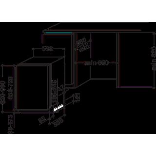 Whirlpool Máquina de lavar loiça Independente WIE 2B16 Encastre total A+ Technical drawing