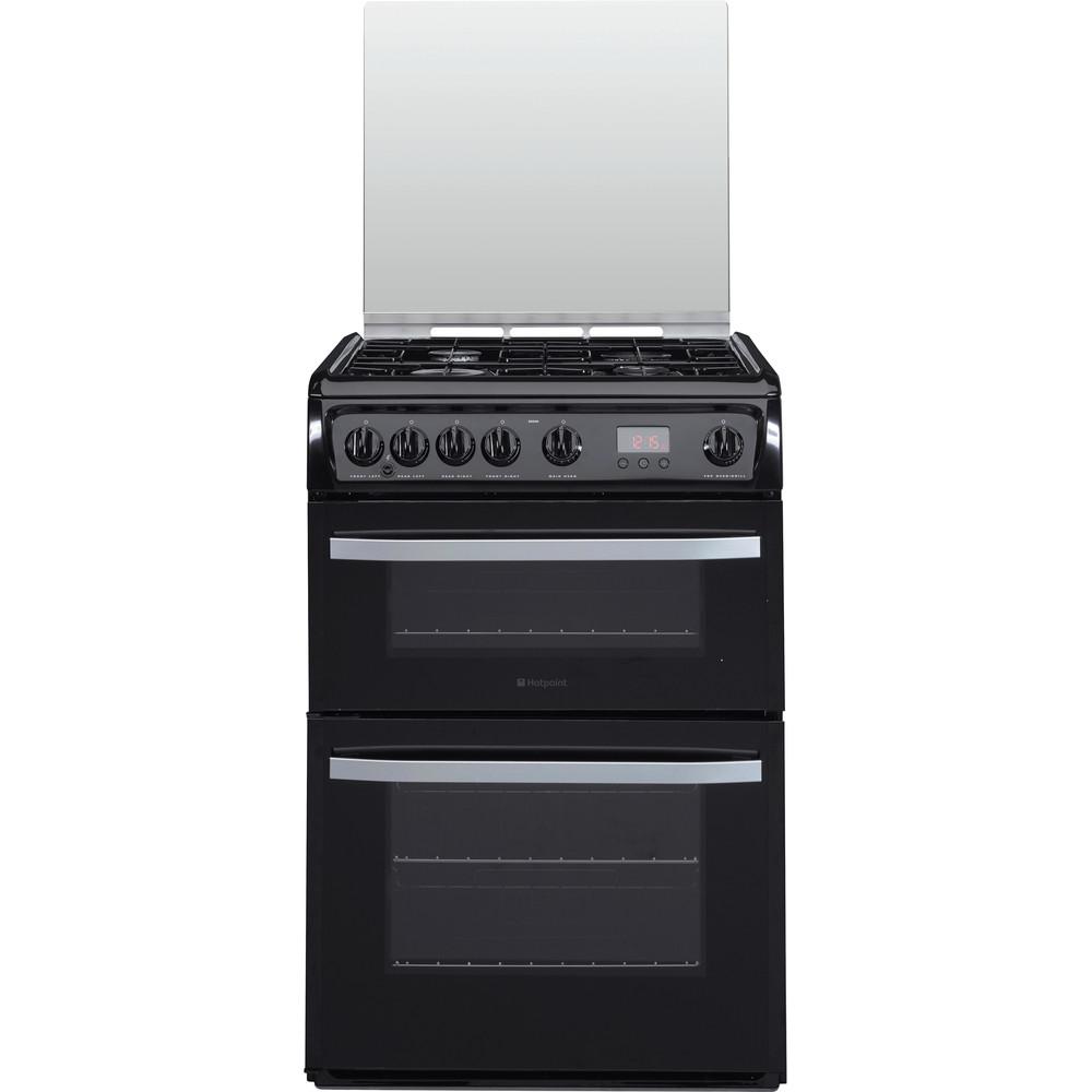 Hotpoint Double Cooker DSG60K Black A+ Enamelled Sheetmetal Frontal