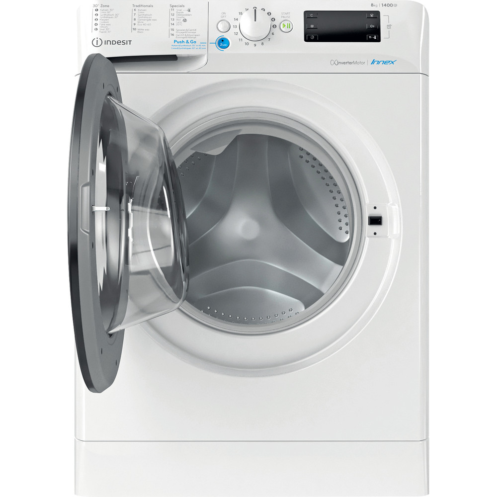 Indesit Lave-linge Pose-libre BWEBE 81484X WK N Blanc Frontal C Frontal open