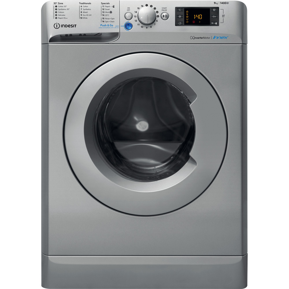 Indesit Washing machine Free-standing BWE 91483X S UK N Silver Front loader A+++ Frontal
