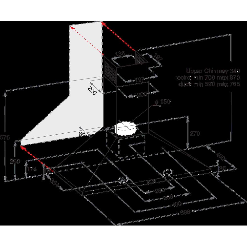 Indesit Dampkap Inbouw IHPC 9.4 LM X Inox Wandmodel Mechanisch Technical drawing