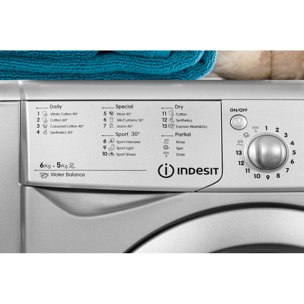 Indesit Washer dryer Free-standing IWDC 6125 S (UK) Silver Front loader Lifestyle_Control_Panel