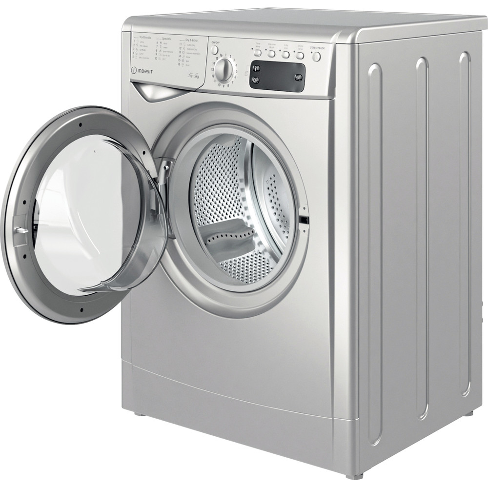 Indesit Washer dryer Free-standing IWDD 75145 S UK N Silver Front loader Perspective open