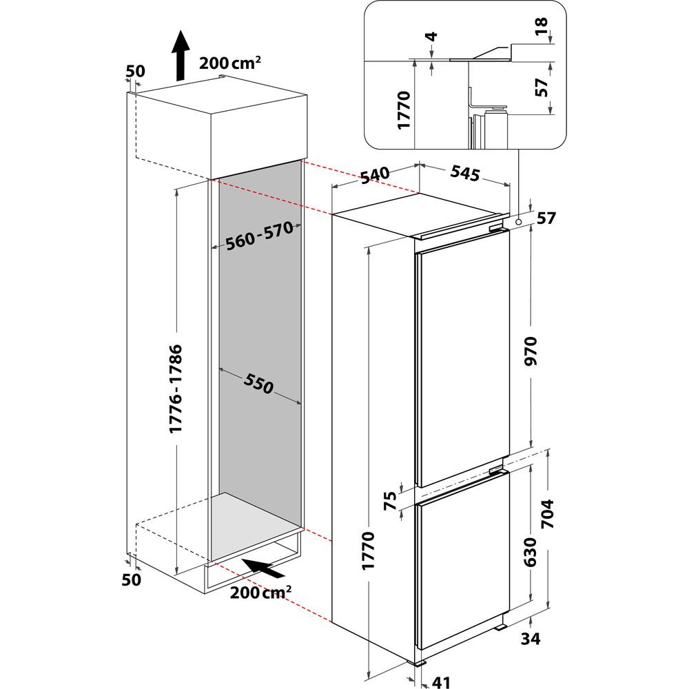 Indesit Kombinovaná chladnička s mrazničkou Vestavné B 18 A2 D/I Ocel 2 doors Technical drawing
