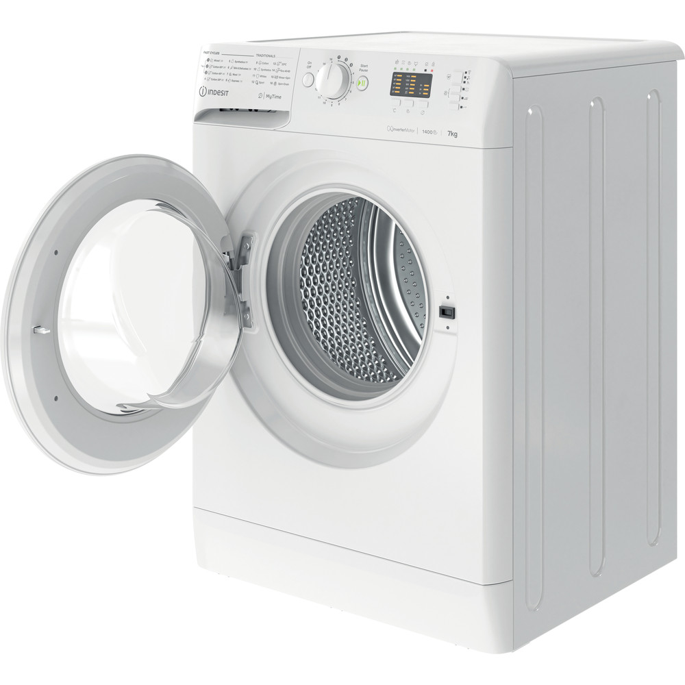 Indesit Lave-linge Pose-libre MTWA 71483 W EE Blanc Frontal D Perspective open
